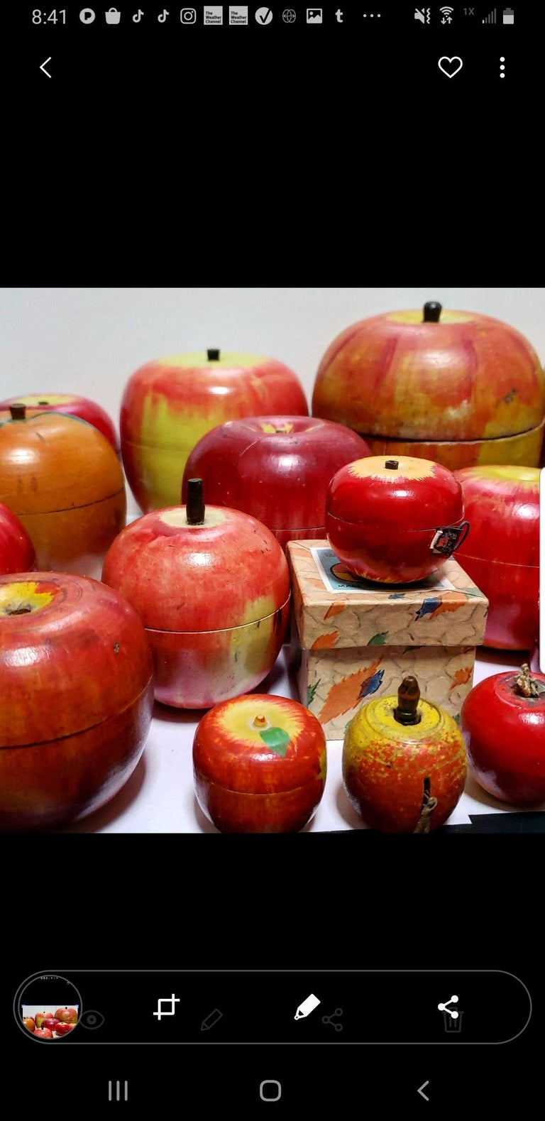 62 Vintage Folk Art Hand Painted Apple Collection and Display, Circa 1890-1950 For Sale 2