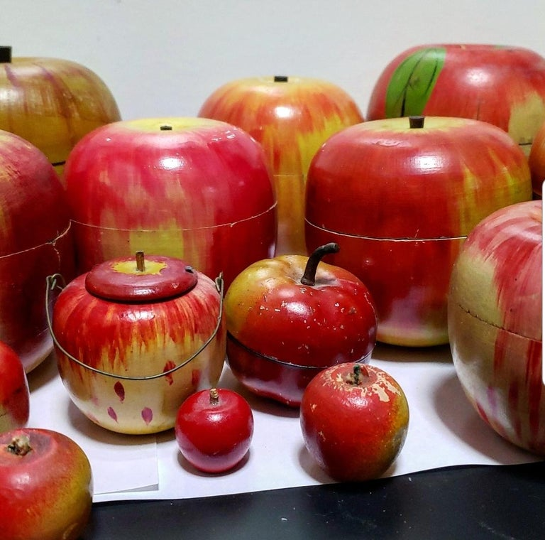 62 Vintage Folk Art Hand Painted Apple Collection and Display, Circa 1890-1950 For Sale 3