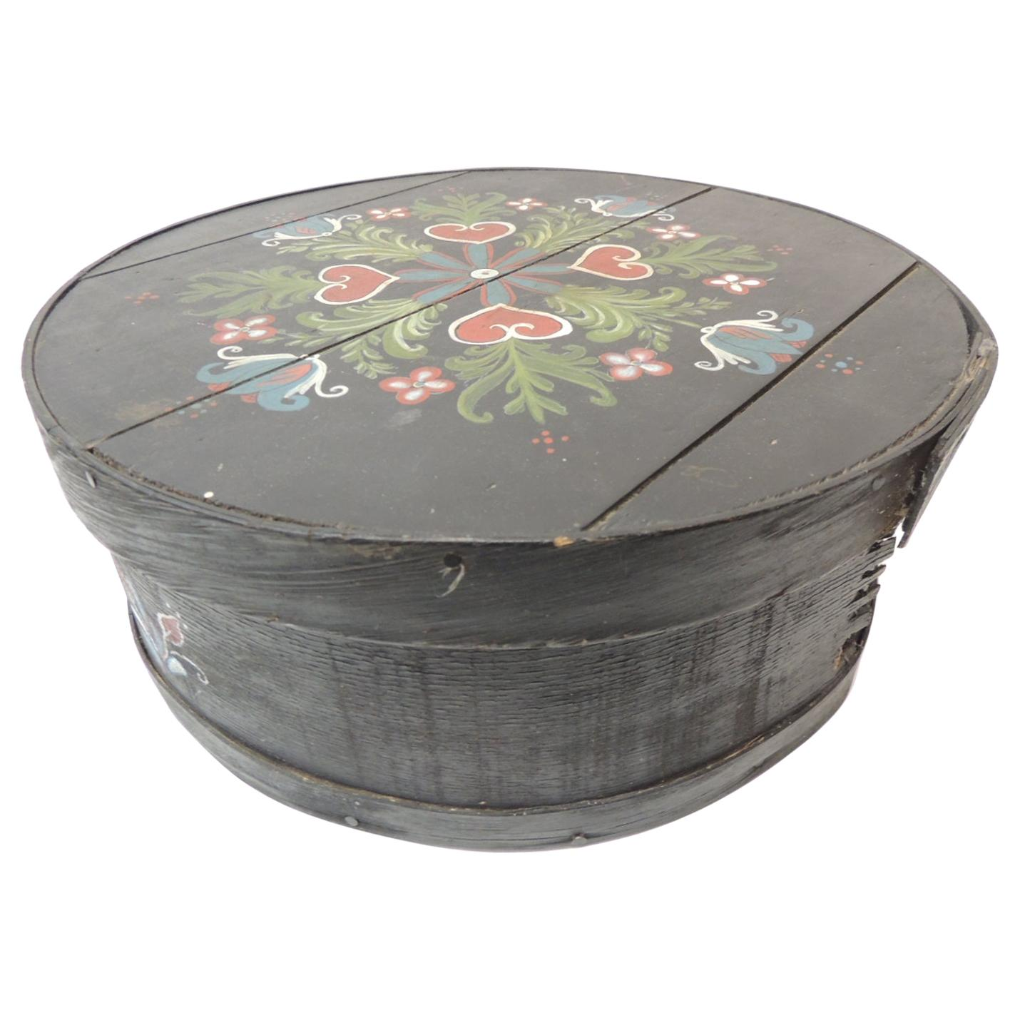 Vintage Folk Art Hand Painted Round Box