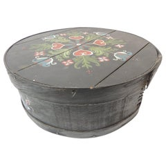 Vintage Folk Art Hand Painted Round Box