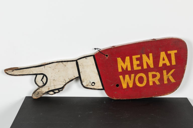Hand-Painted Vintage Folk Art Men at Work Sign Wood Trade Sign For Sale