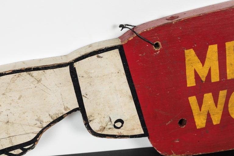 Mid-20th Century Vintage Folk Art Men at Work Sign Wood Trade Sign For Sale