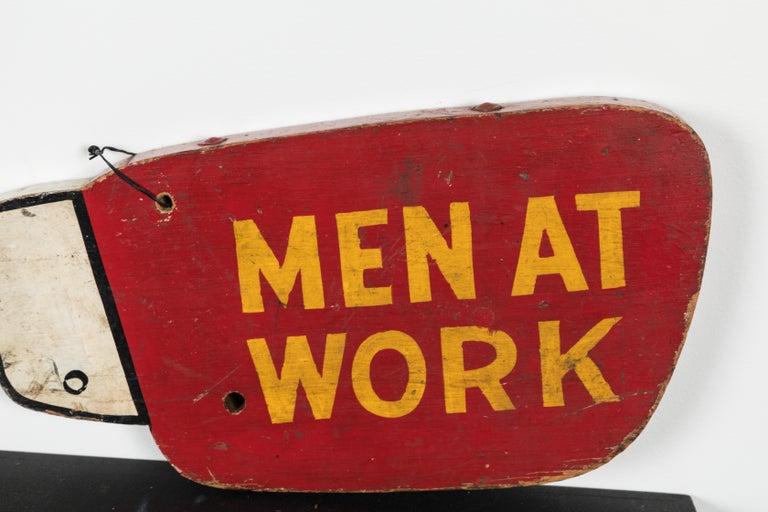 Vintage Folk Art Men at Work Sign Wood Trade Sign For Sale 1