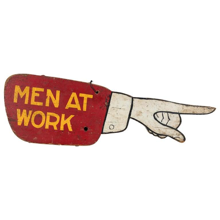 Vintage Folk Art Men at Work Sign Wood Trade Sign For Sale