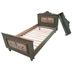 Vintage Folk Art Painted bed from Germany