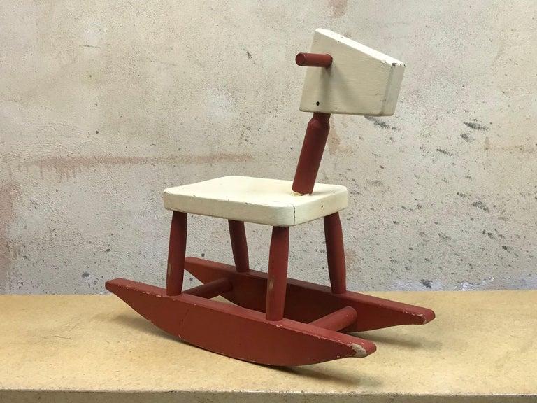 Mid-Century Modern Vintage Sculpture Folk Art Childs' Red Rocking Horse  USA For Sale