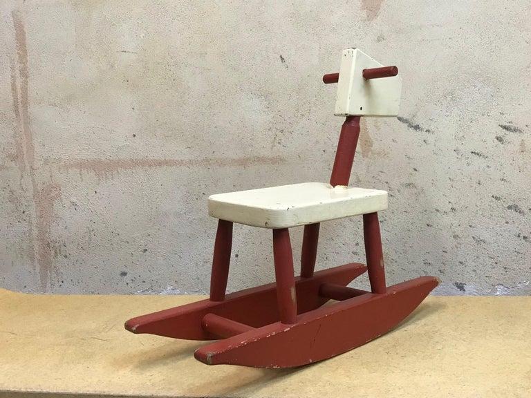 American Vintage Sculpture Folk Art Childs' Red Rocking Horse  USA For Sale