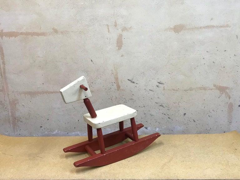 Wood Vintage Sculpture Folk Art Childs' Red Rocking Horse  USA For Sale