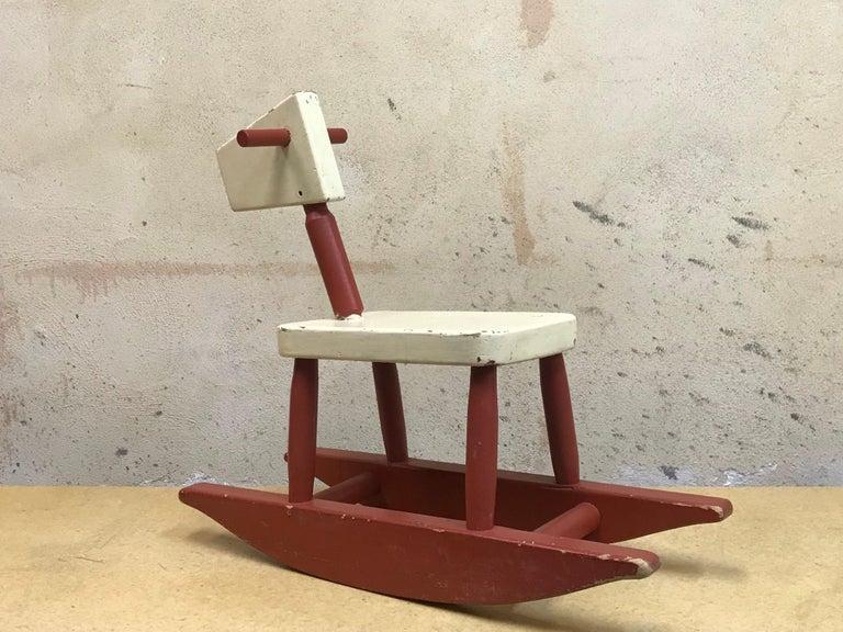 Vintage Sculpture Folk Art Childs' Red Rocking Horse  USA For Sale 1