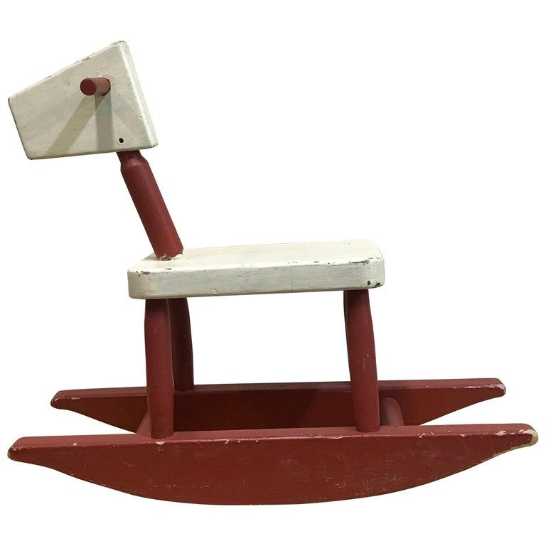 Vintage Sculpture Folk Art Childs' Red Rocking Horse  USA For Sale