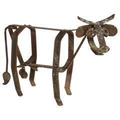 Vintage Folk Art Rusty Steel Garden Kinetic Sculpture of Bull Amber Glass Eyes