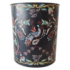 Vintage Folk Art Style Painted Tin Oval Wastebasket