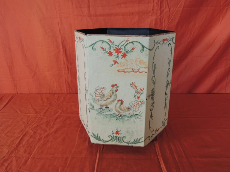 European Vintage Folk Art Style Tole Waste Paper Basket For Sale