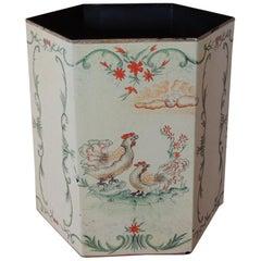 Vintage Folk Art Style Tole Waste Paper Basket