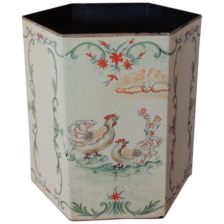 Vintage Folk Art Style Tole Waste Paper Basket For Sale