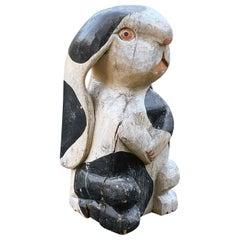 Vintage Folk Art Timber Rabbit Poly Chromed Carved Wood
