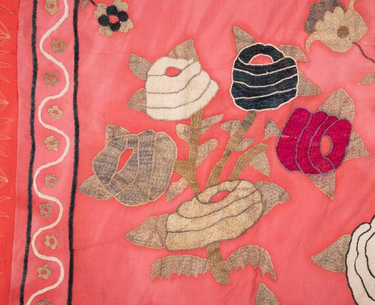 Cotton Vintage Folk Suzani from Uzbekistan, Central Asia, 1970s For Sale