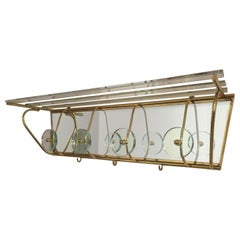 Vintage Fontana Arte Style Glass and Brass Coat or Hat Rack