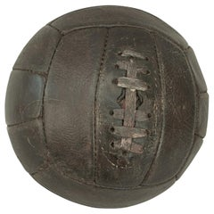 Vintage Football, Dark Brown Leather 18 Panel Lace Up Soccer Ball