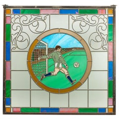 Vintage Football Stained Glass Window 1993 from the Mansfield Bar