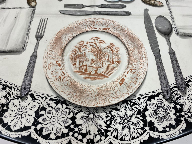 Vintage Fornasetti Tromp L'oeil Dining or Centre Table In Good Condition For Sale In London, London