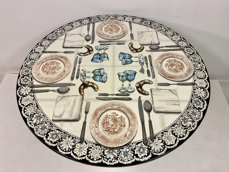Vintage Fornasetti Tromp L'oeil Dining or Centre Table For Sale 1