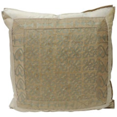 "Vintage Fortuny ""Ashanti"" Copper on Silvery Decorative Pillow"