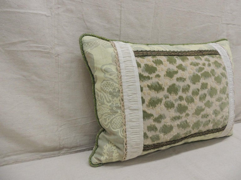 """Scalamandre cheetah green pattern cut velvet, framed with Fortuny fabric, embellished with green and gold trims, framed with silk silver trim. Green glass beads trim all around. Scalamandre velvet backing. Size: 15"""" H x 20"""" W x 6"""" D."""