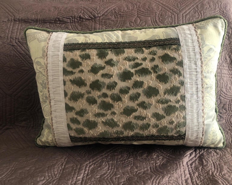 Regency Vintage Fortuny Celadon Green and Silver Bolster Decorative Pillow For Sale