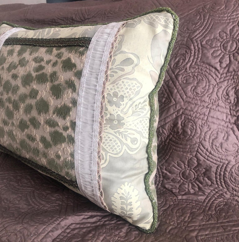 American Vintage Fortuny Celadon Green and Silver Bolster Decorative Pillow For Sale