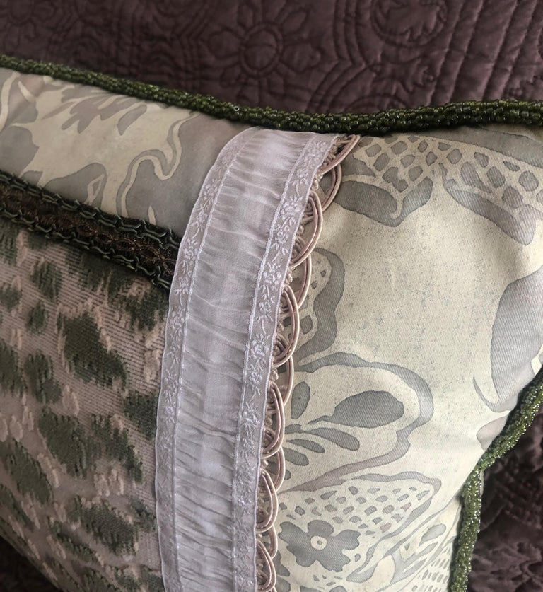 Hand-Crafted Vintage Fortuny Celadon Green and Silver Bolster Decorative Pillow For Sale