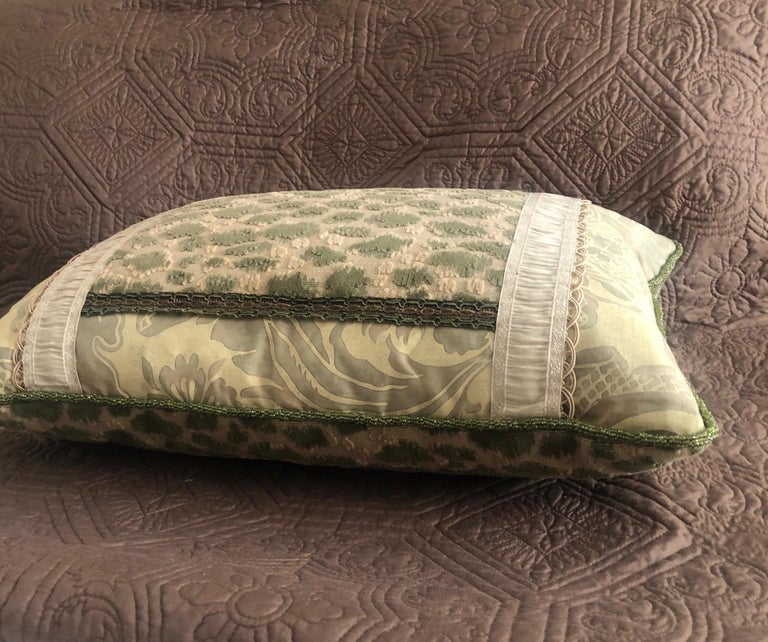 Vintage Fortuny Celadon Green and Silver Bolster Decorative Pillow In Good Condition For Sale In Wilton Manors, FL