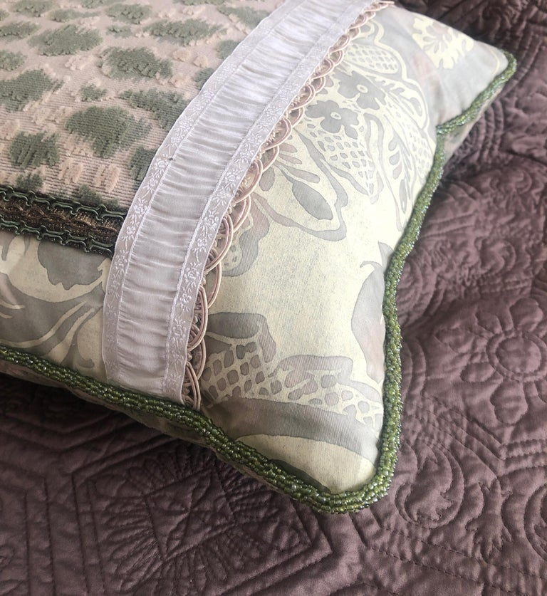 Contemporary Vintage Fortuny Celadon Green and Silver Bolster Decorative Pillow For Sale