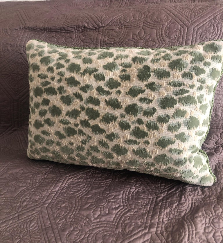 Beads Vintage Fortuny Celadon Green and Silver Bolster Decorative Pillow For Sale