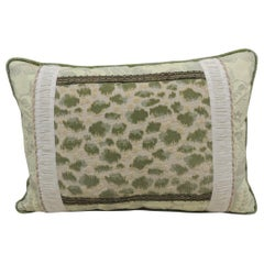 Vintage Fortuny Celadon Green and Silver Bolster Decorative Pillow