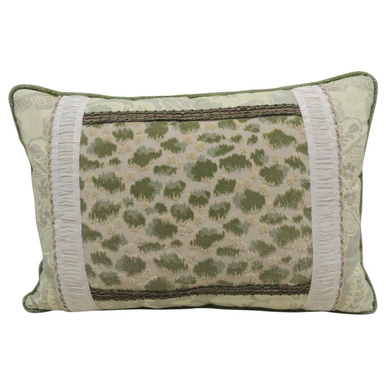 Vintage Fortuny Celadon Green and Silver Bolster Decorative Pillow For Sale