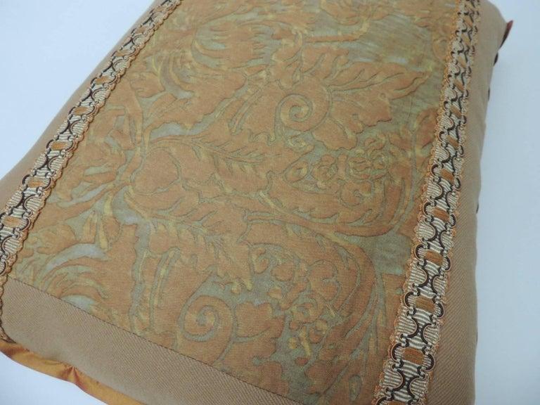 """Regency Vintage Fortuny """"Medici"""" Orange on Silver Decorative Bolster Pillow For Sale"""