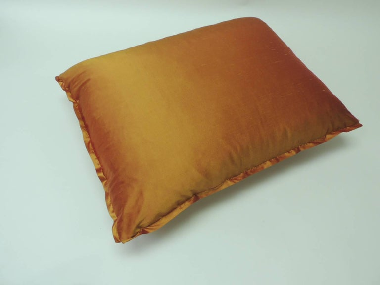 "Italian Vintage Fortuny ""Medici"" Orange on Silver Decorative Bolster Pillow For Sale"