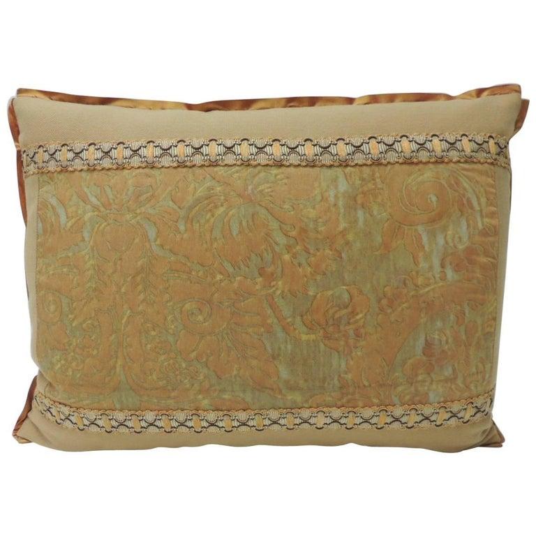 "Vintage Fortuny ""Medici"" Orange on Silver Decorative Bolster Pillow For Sale"