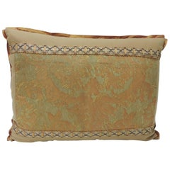 "Vintage Fortuny ""Medici"" Orange on Silver Decorative Bolster Pillow"