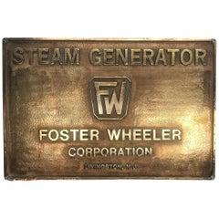 Vintage Foster Wheeler Corporation Heavy Brass Steam Generator Plaque