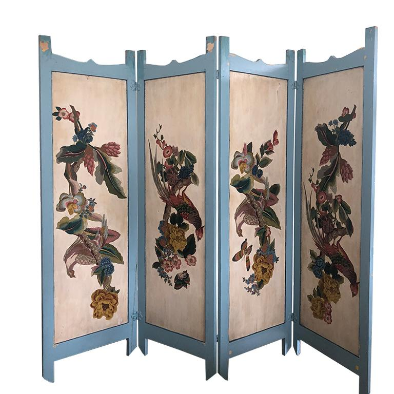 Early 20th Century Vintage Four Panel Blue Divider Screen with Chinoiserie Birds and Flowers For Sale