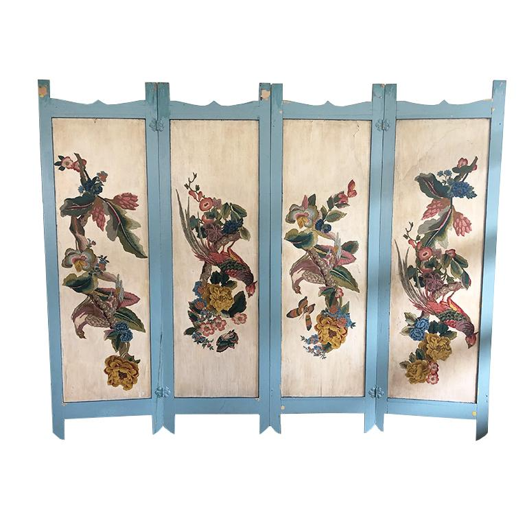 Vintage Four Panel Blue Divider Screen with Chinoiserie Birds and Flowers For Sale