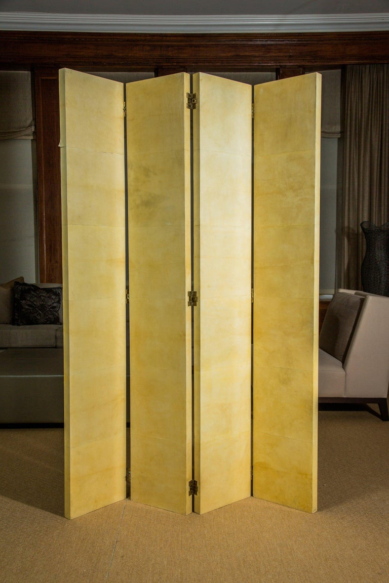 Hand-Crafted Vintage Four Panel Parchment Screens by R&Y Augousti For Sale