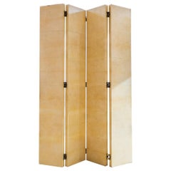 Vintage Four Panel Parchment Screens by R&Y Augousti