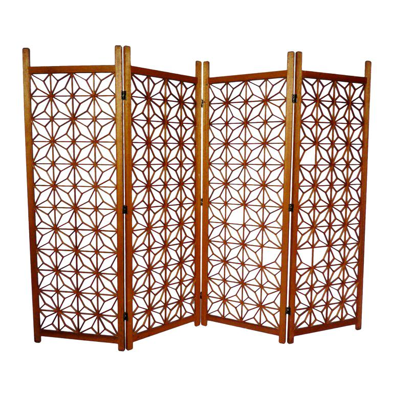 VINTAGE FOUR PANEL SCREEN For Sale