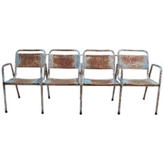 Vintage Four-Seat 1970s Spanish Iron Cinema Bench