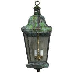 Vintage Four Sides Brass Hanging Lantern