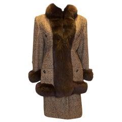 Vintage Fox Fur Trimmed Skirt Suit