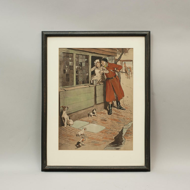 Vintage hunting print An original fox hunting lithograph print 'The Amorous Huntsman' depicting a huntsman flirting with a serving girl through a window. A very rare hand colored lithograph by Cecil Aldin, circa 1905. As with a lot of Aldin's
